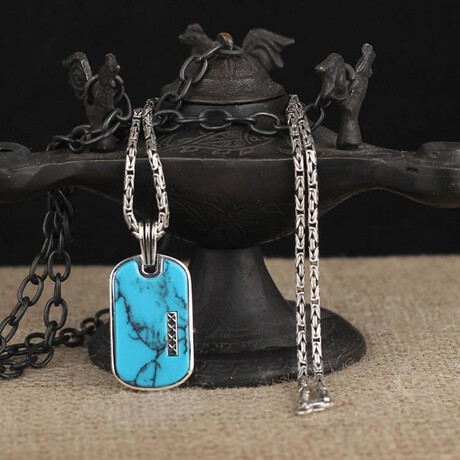 Dog Tag Necklace // Turquoise + Silver