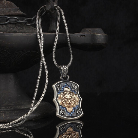 Lion Necklace + CZ Diamonds // Silver + Blue + Bronze