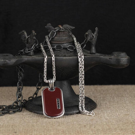 Dog Tag Necklace // Silver + Red