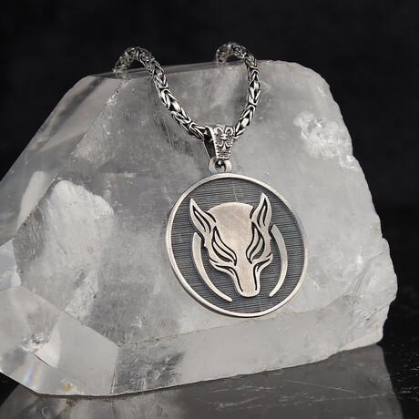 Masculine Wolf Medallion // Silver