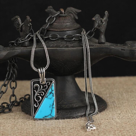 Relief Necklace // Silver + Black + Turquoise