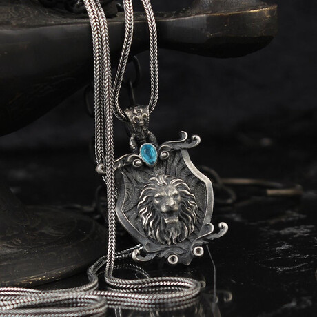 Lion Necklace // Silver + Blue