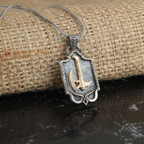 Viking Axe Necklace // Antique Silver + Bronze