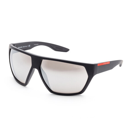 Men's PS08US-DG02B067 Linea Rossa Sunglasses // Black Rubber + Light Gray Mirror
