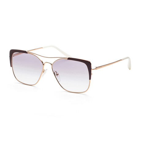 Women's PR54VS-40040958 Sunglasses // Rose Gold + Bordeaux + Clear Gradient Blue