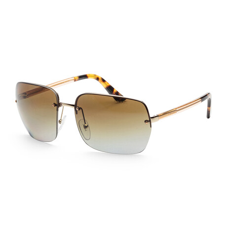 Prada // Men's PR63VS-ZVN6E162 Polarized Sunglasses // Oropallido + Polar Gray + Gradient Brown