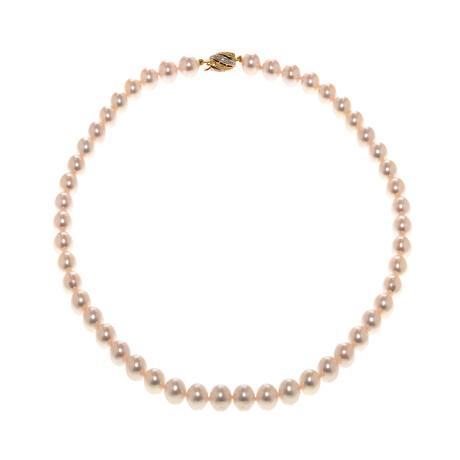 18k Two Tone + Diamond + Pearl Necklace