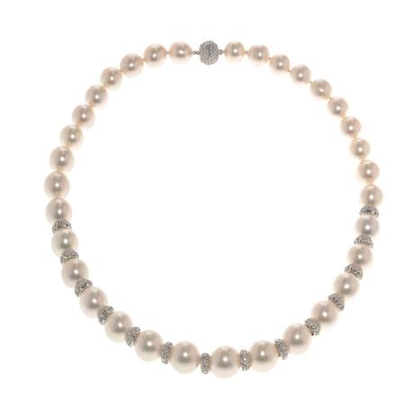 18k White Gold + Diamond + Pearl Necklace