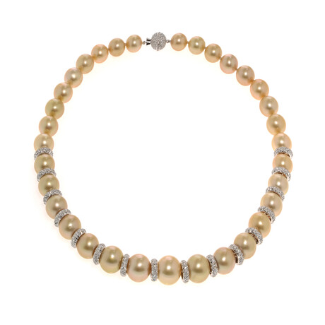 "Assael 18k White Gold + Diamond + Pearl Necklace // 18.5"""