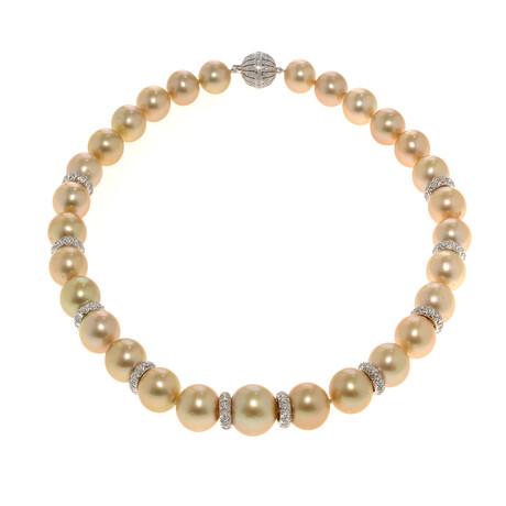 "Assael 18k White Gold + Diamond + Pearl Necklace // 18"""