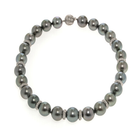 "Assael 18k White Gold + Diamond + Pearl Necklace // 17.5"""