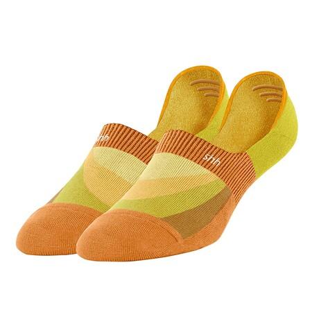 Unisex No-Show Socks // Joy De Feet: Sunshine In My Sole // Orange + Yellow (US Men's Size 6-9.5)