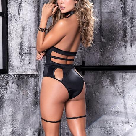 Lola Bodysuit + Detachable Garters // Black (S-M)