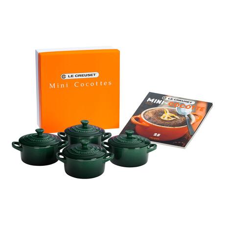 Set of 4 Cocottes + Mini-Cocotte Cookbook (Cerise)