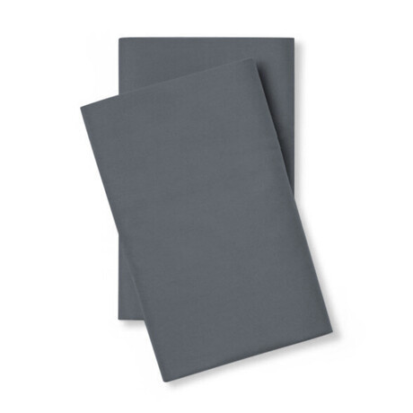Classic Cool & Crisp 100% Cotton Percale Pillowcase // Set of 2 // Charcoal (Standard/Queen)