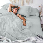 Classic Cool & Crisp 100% Cotton Percale Pillowcase // Set Of 2 // Light Gray (Standard/Queen)
