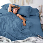 Classic Cool & Crisp 100% Cotton Percale Pillowcase // Set of 2 // Cadet Blue (Standard/Queen)