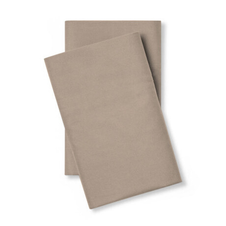 Classic Cool & Crisp 100% Cotton Percale Pillowcase // Set of 2 // Sandy Taupe (Standard/Queen)