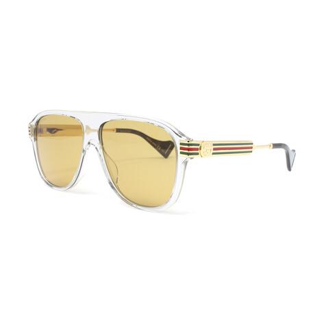 Men's GG0587S Sunglasses // Gray Transparent + Gold