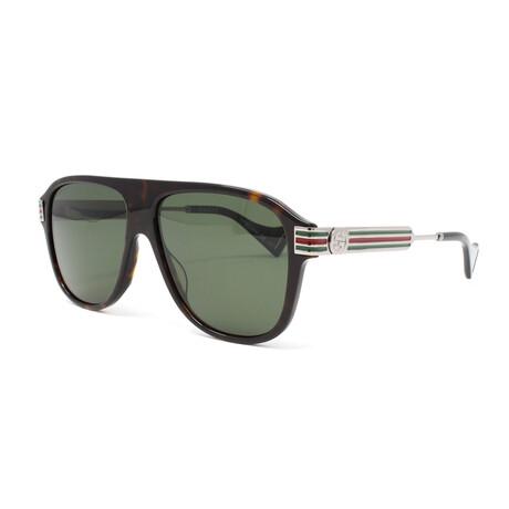 Men's GG0587S Polarized Sunglasses // Havana + Ruthenium + Green