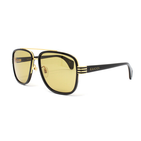 Men's GG0448S Sunglasses // Black + Yellow