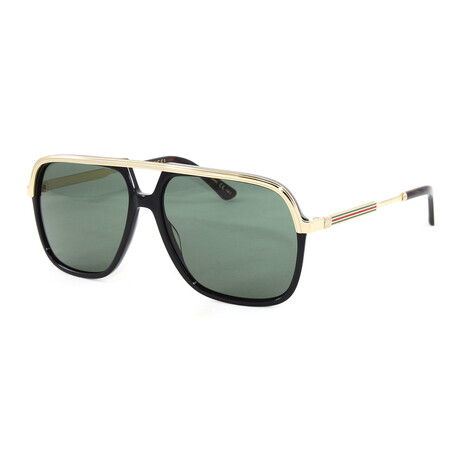 Unisex GG0200S Sunglasses // Black + Gold + Green