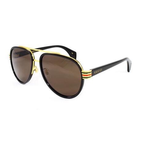 Men's GG0447S Sunglasses // Black + Brown