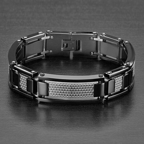 Stainless Steel Grill Inlay Link Bracelet // Black + Silver