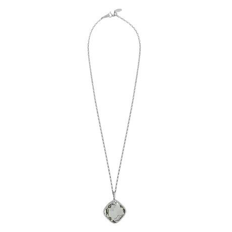Estate 18k White Gold + Diamond + Prasiolite Necklace // Pre-Owned