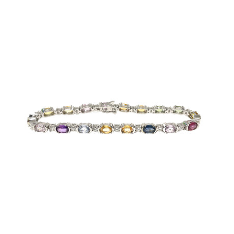 Estate 14k White Gold + Diamond + Multicolor Sapphire Bracelet // Pre-Owned