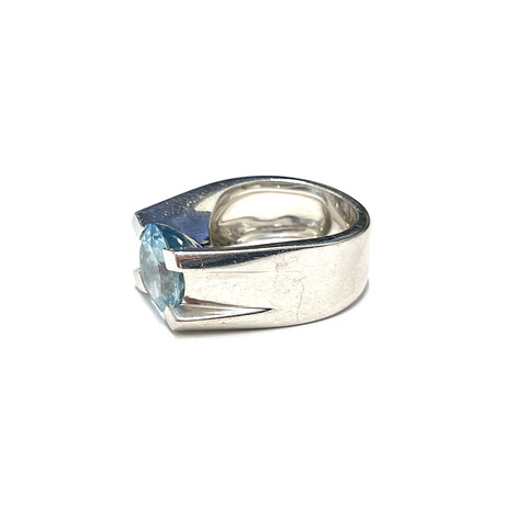 Cartier 18k White Gold + Aquamarine Ring // Ring Size: 5.25 // Pre-Owned