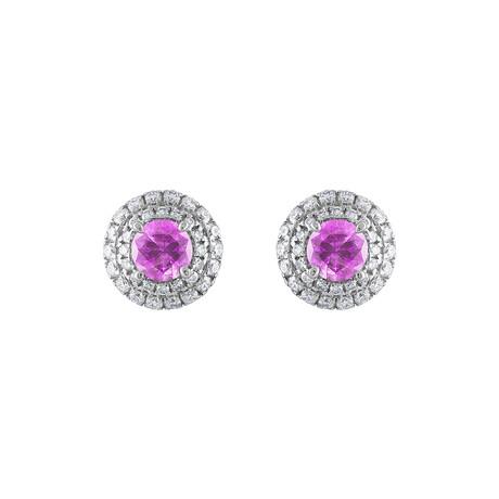 18K White Gold Diamond + Pink Sapphire Earrings IV