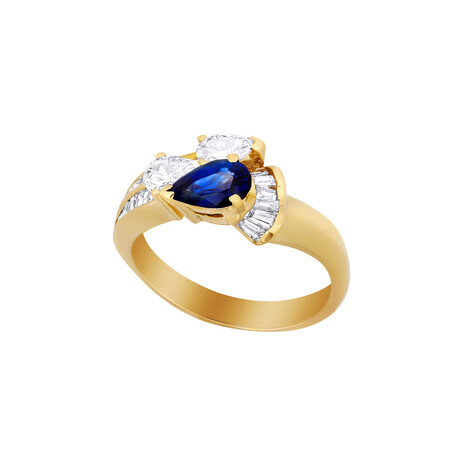 Estate 18k Yellow Gold + Sapphire + Diamond Ring // Ring Size: 6.75 // Pre-Owned