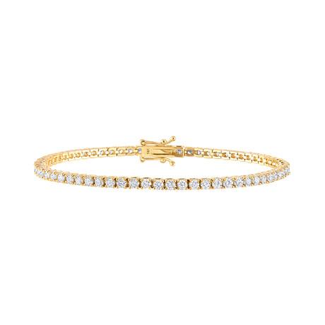 Estate 14K Yellow Gold Diamond Tennis Bracelet // Pre-Owned