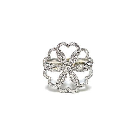 Poiray // 18k White Gold Heart + Flower Diamond Ring // Ring Size: 6.5 // Pre-Owned