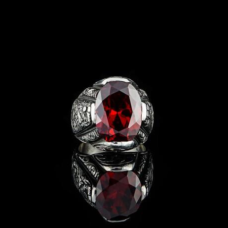 Big Garnet Stone Ring // Silver + Red (5)