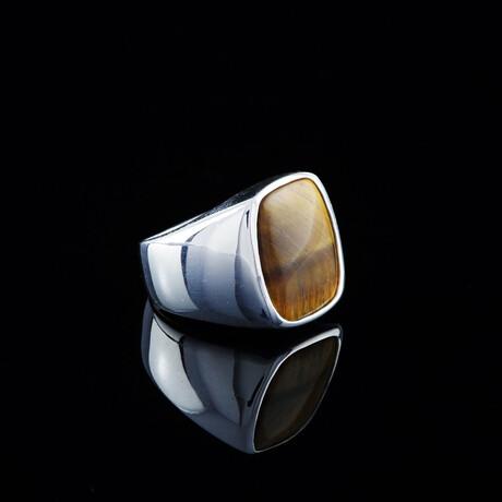 Tigers Eye Ring // Silver + Brown (5)
