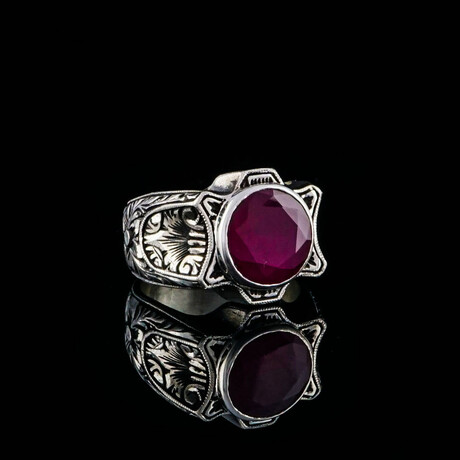 Round Ruby Ring // Silver + Red (5)