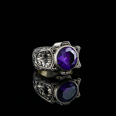 Round Amethyst Ring // Silver + Purple (5)