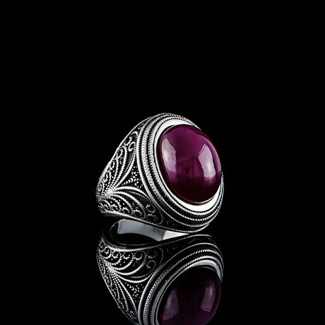 Natural Cabochon Ruby Ring // Silver + Red (5)