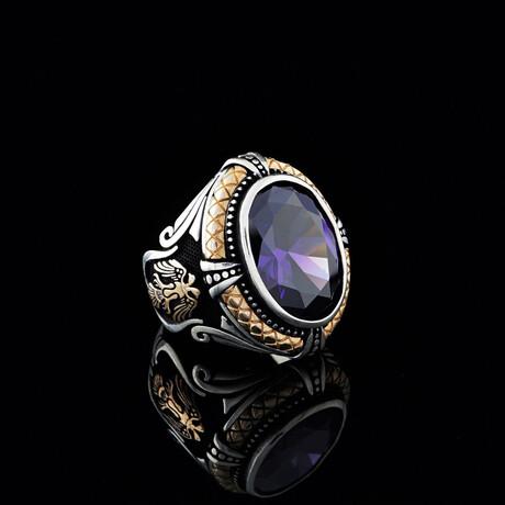 Amethyst Ring + Heraldic Eagle // Silver + Purple + Bronze (5)