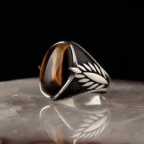Chic Tigers Eye Ring // Silver + Brown (5)