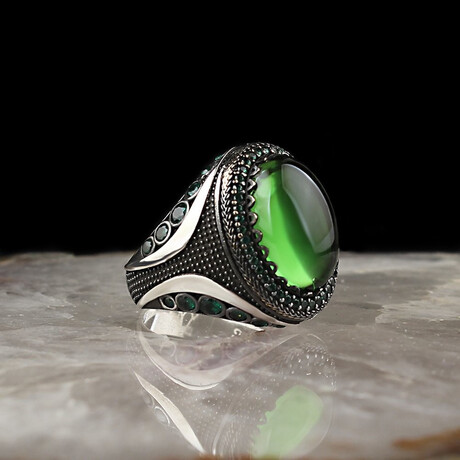 Green Amber Ring // Silver + Green (5)