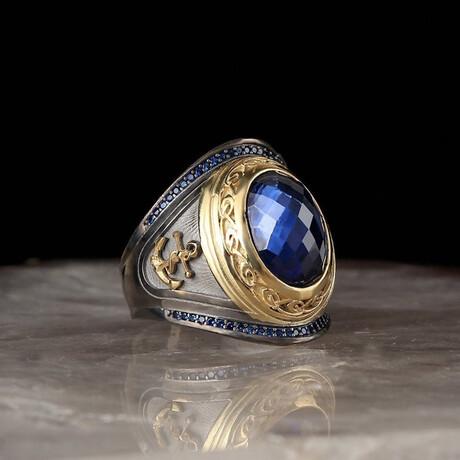 Sailor Ring + Lab Sapphire // Gold + Blue + Black (5)