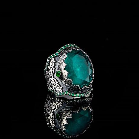 Oxidized Silver Ring + Green Tourmaline // Silver + Green (5)