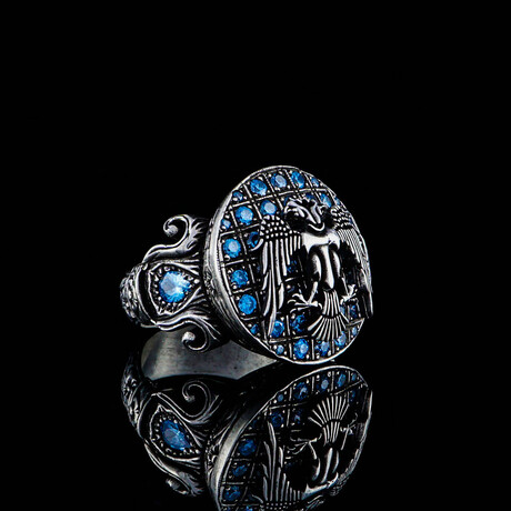 Double Headed Eagle Ring // Silver + Blue (5)