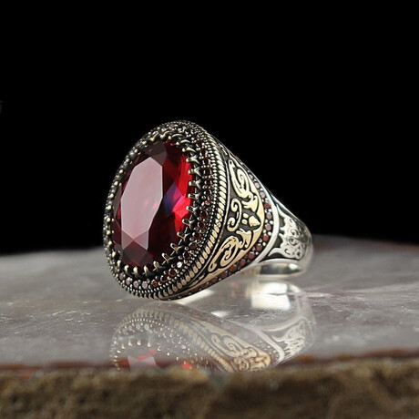 Two-Toned Elegant Ring + Red Stone // Silver + Red + Bronze (5)