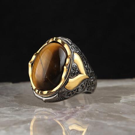 Tigers Eye Ring // Silver + Black + Gold + Brown (5)