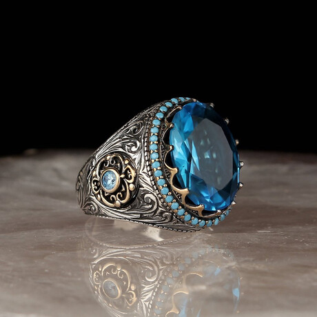 Authentic Blue Topaz Ring // Silver + Blue (5)
