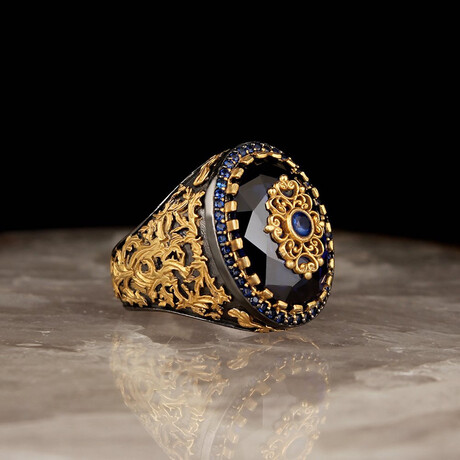 Gemstone Ring // Blue + Gold + Black (5)